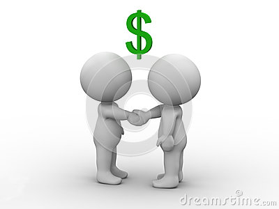 3D Men Shaking Hands and Dollar Sign