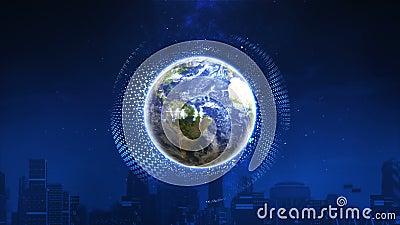 3d Hacer el mundo futurista con luz de bola de energía Concepto de tecnología del futuro digital ilustración del vector