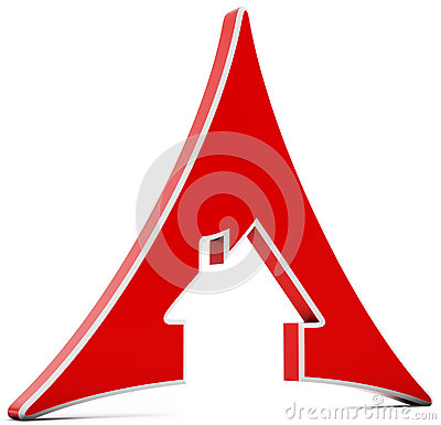 3d house icon triangle