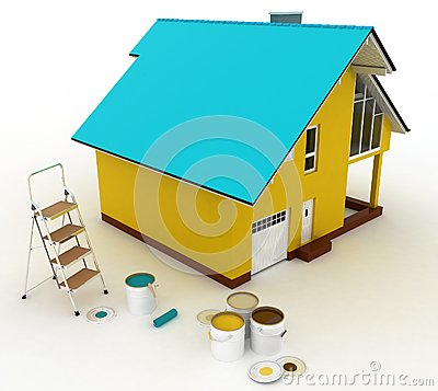 3d house with paints and step-ladder