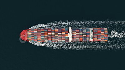 3D Illustration of a container ship. International transportation stock video footage