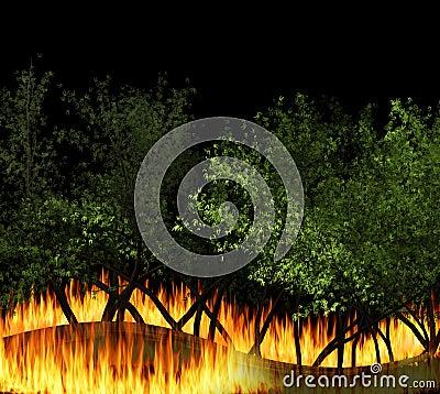 3D illustration forest fire burning, bushfire, wildfire close-up Cartoon Illustration