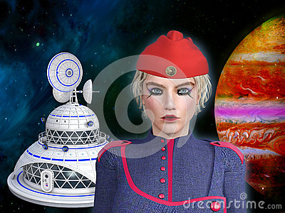 3D illustration of a futuristic female starship commander Cartoon Illustration