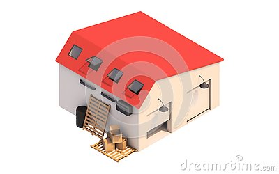 3d illustration of a garage box, storage box with empty boxes. Stock Photo