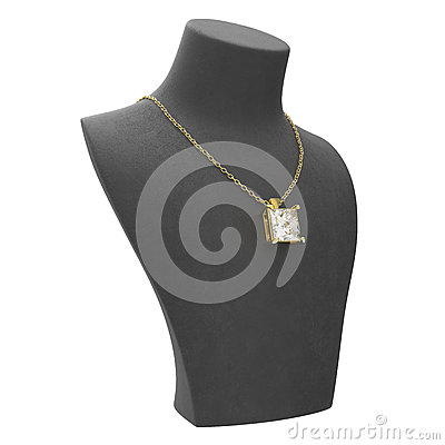 3D illustration gold necklace with diamonds on a black mannequin Cartoon Illustration
