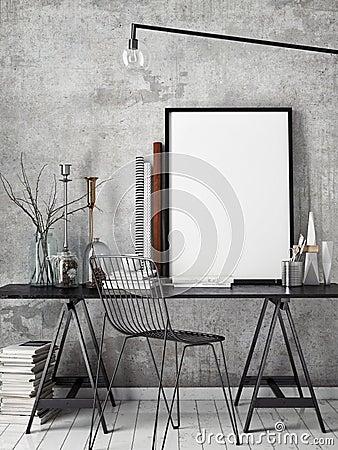 3D illustration of poster frame template, workspace mock up, Cartoon Illustration
