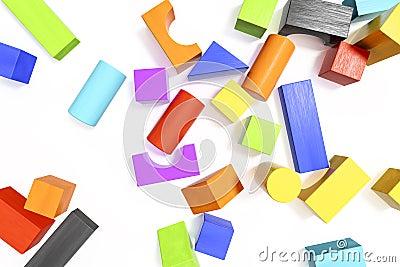 some colorful building blocks background Cartoon Illustration