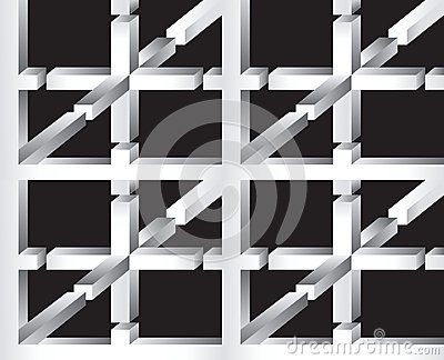 3D Impossible Shape Abstract Vector Seamless Pattern.