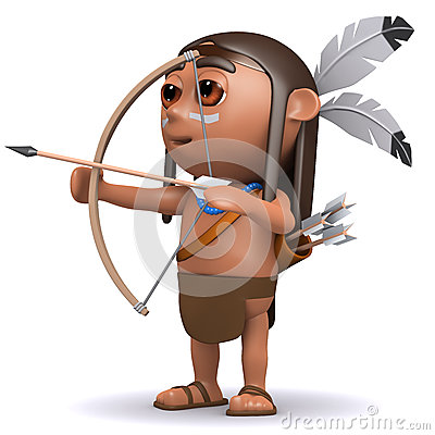 3d Indian boy fires arrow