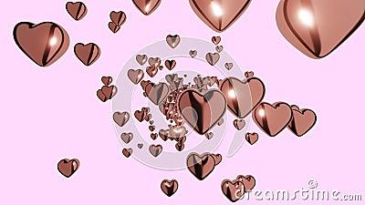 3D Infinite loop heart latające na różowym tle Symbole miłości dla szczęśliwych kobiet, matki, walentynki, życzenia urodzinowe royalty ilustracja