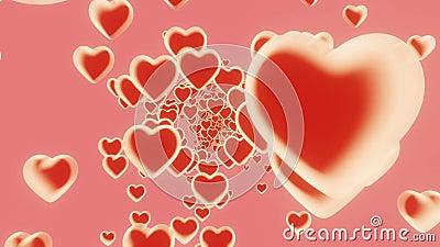 3D Infinite loop heart latające na różowym tle Symbole miłości dla szczęśliwych kobiet, matki, walentynki, życzenia urodzinowe ilustracja wektor