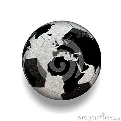 3d a isol le ballon de football noir et blanc avec la carte du monde monde illustration stock. Black Bedroom Furniture Sets. Home Design Ideas