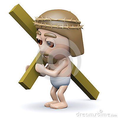 3d render of jesus in a crown of thorns carrying the cross