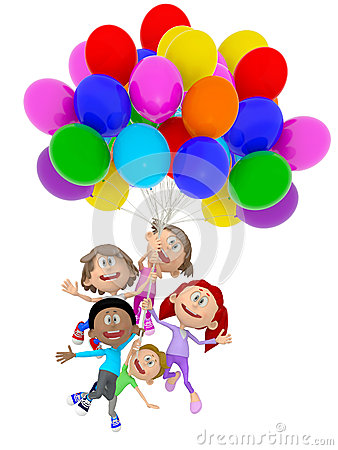 3D kids with balloons