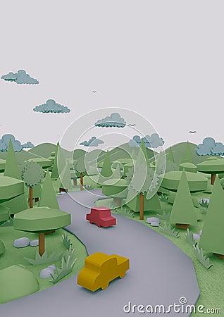 3d landscape origami paper looks
