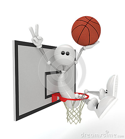3d little man basketball player.