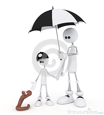 The 3D little man with the child on a rain.
