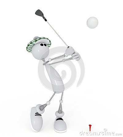 3d little man golfist.