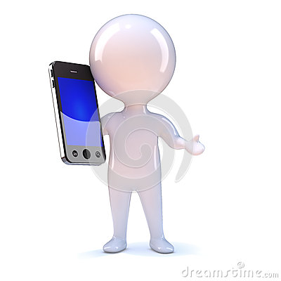 3d Little person on smartphone