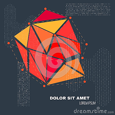 3D Low Polygon Geometry Background. Abstract Polygonal Geometric Shape. Lowpoly Minimal Style Art. Vector Vector Illustration