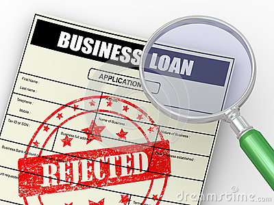 3d magnifier over rejected loan application
