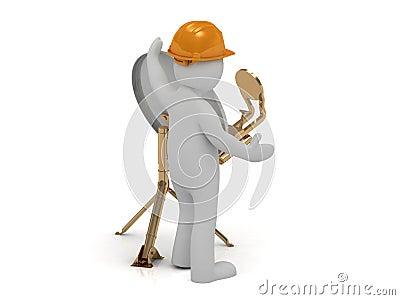 3d man adjuster in an orange helmet adjusts the satellite