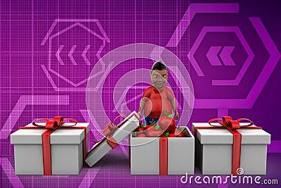 3d man apple gift