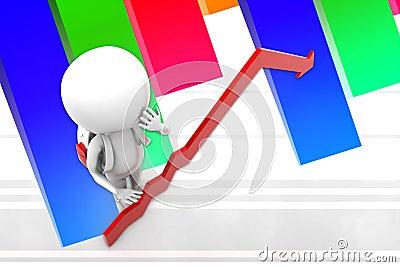 3d Man Arrow  Statics Illustration