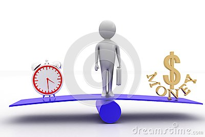 3d Man In The Center Of See Saw With Time And Money On See Saw