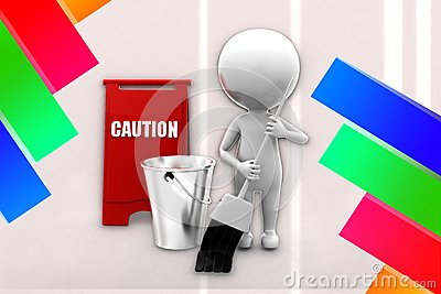 3d man cleaning caution Illustration