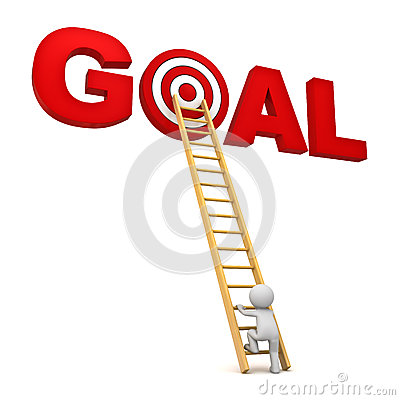 3d man climbing ladder to the red target in word goal over white background