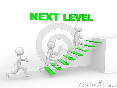 3d man climbs the ladder of next level