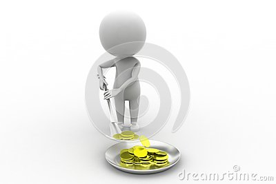 3d Man Digging Coins