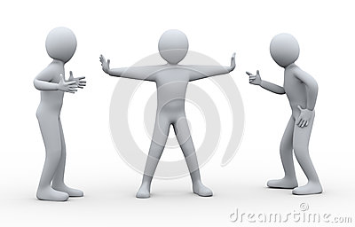 3d man between fighting people