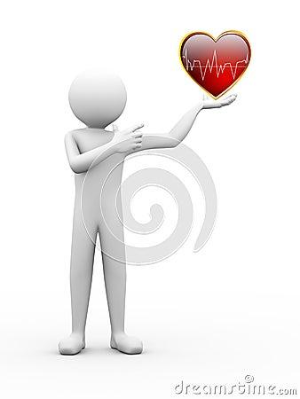 3d man finger pointing to heart illustration
