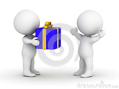 3D man giving wrapped gift