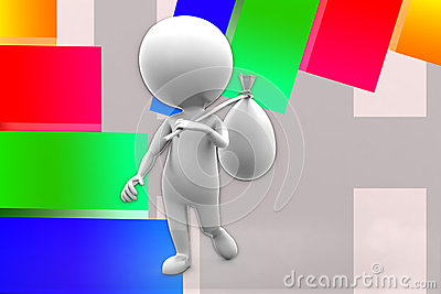 3d Man Holding Bag Illustration