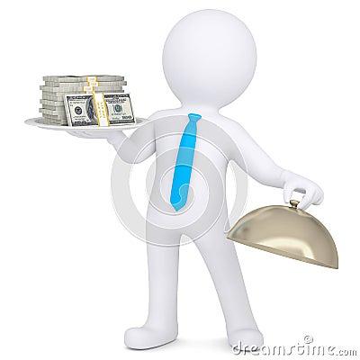 3d man holding a pile of money on a platter