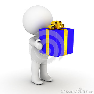 3D man holding wrapped gift