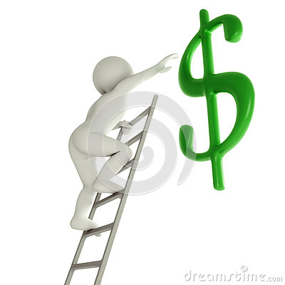 3D man on a ladder about to reach green dollar sign