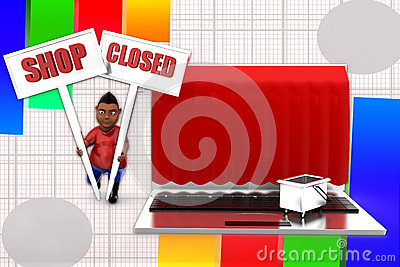 3d Man Laptop Shop Closed Illustration