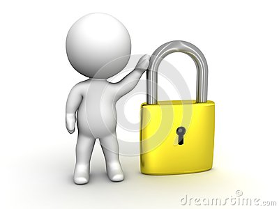 3D Man leaning on PadLock Security concept