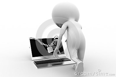 3d Man and Locked Laptop