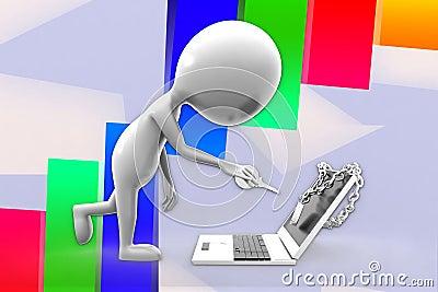 3d Man and Locked Laptop Illustration