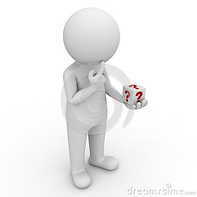 3d man looking at question box in his hand and thinking over white