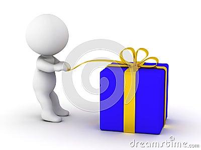 3D man opening gift