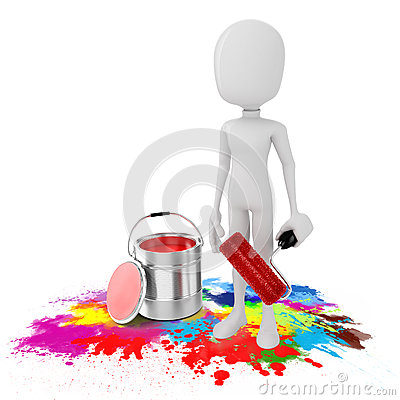 3d man and paint bucket