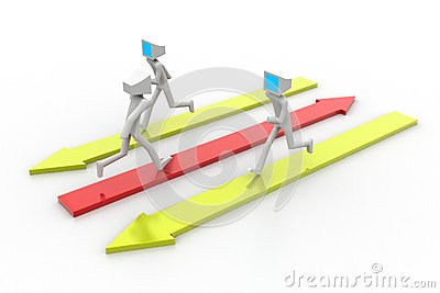 3d man people running on colorful arrows