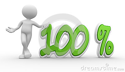 3d man and percent sign. 100