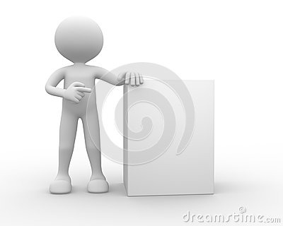 3d man, person with blank board